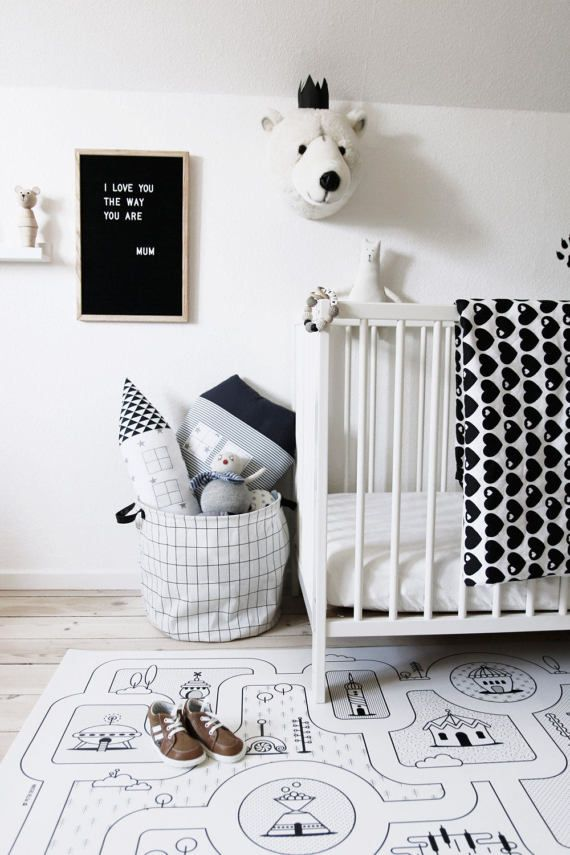 Monochrome Nursery / Game Road Map City Rug Kids City Area Rug