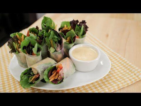 Salad Rolls w/ Spicy Garlicky Creamy Dip - Hot Thai Kitchen! - YouTube