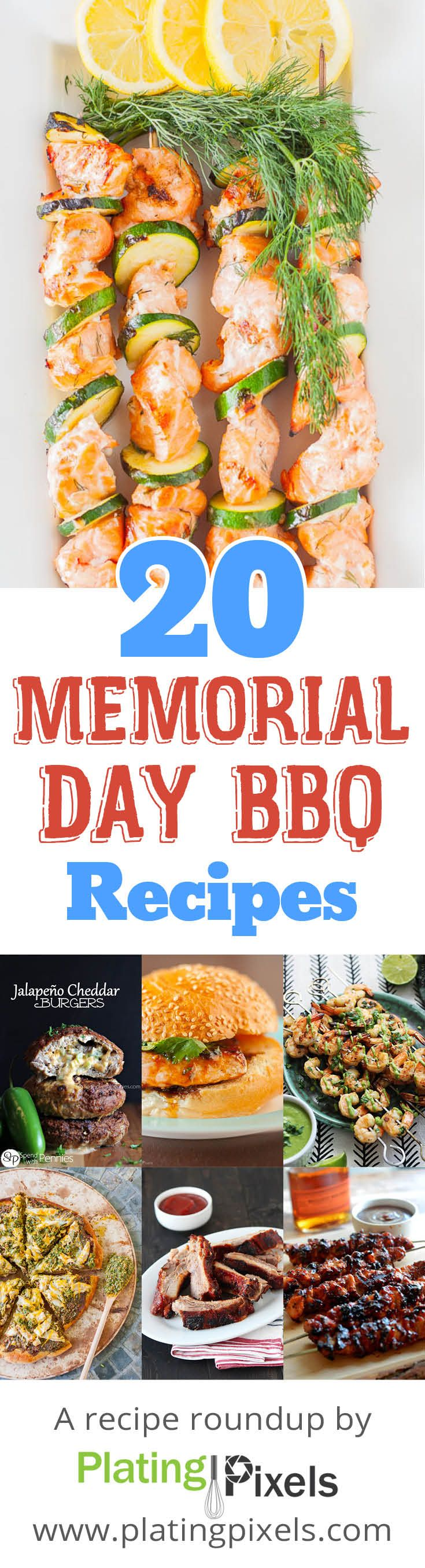 Memorial Day Barbecue recipes roundup by Plating Pixels. Barbecue recipes for your Memorial Day. Chicken, ribs, burgers, shrimp salmon, pizza, salads, sides and mint martini for fun. - www.platingpixels.com