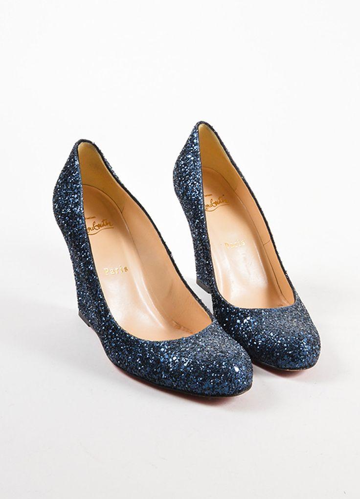 Navy Blue Glitter Round Toe Wedges