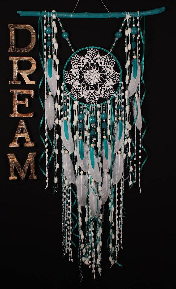 Turquoise Dreamcatcher Boho Dream Catcher Large crochet dreamcatcher gift wedding ceremony photo backdrop Dreamcatcher Bohemian handmade Approximately 52-69 cm The shape of the natural branch can be partially different the word DREAM - not for sale This amulet like