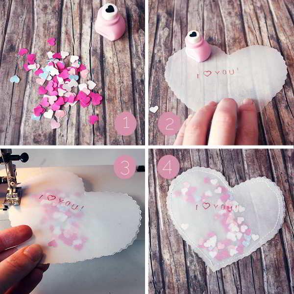 Sachet cœur de confettis pour bon-cadeau 2