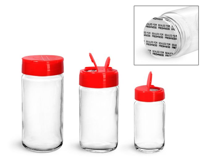 Clear Glass Paragon Jars w/ Red Lined Spice Caps These jars are a great option for packaging herbs and spices.