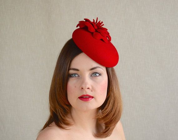 Red Felt Fascinator  Red Beret  Crimson Red by RUBINAMillinery