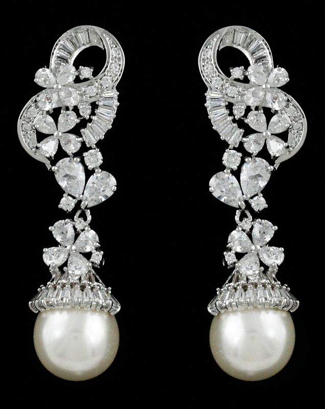 Charming CZ and Pearl Floral Drop Wedding Earrings - Affordable Elegance Bridal -