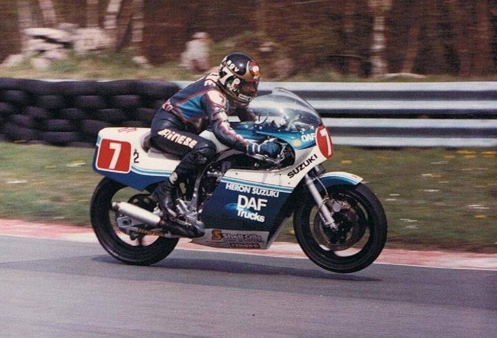 Barry Sheene, Suzuki GS1000, Cadwell Park, 1984.
