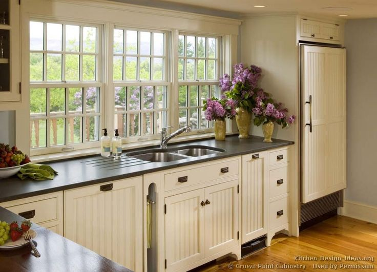 Sensational Country Kitchen Designs With Unique Features: Charming White Country  Kitchen Designs Black Countertops Design Ideas Decorated With Traditional  ...
