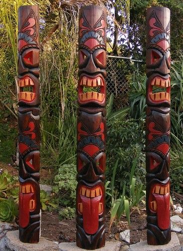 Tribal Tiki Tongue Wood Wall Mask Patio Tropical Bar Decor 60