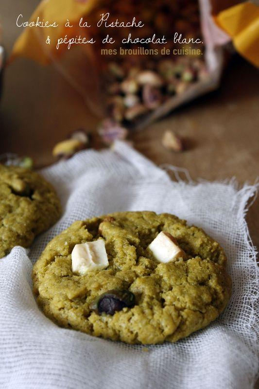 Cookies moelleux pistaches pépites chocolat blanc