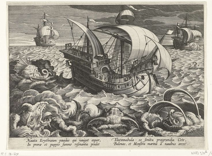 Zeemonsters rondom een schip, Philips Galle, Cornelis Kiliaan, ca. 1594 - 1598