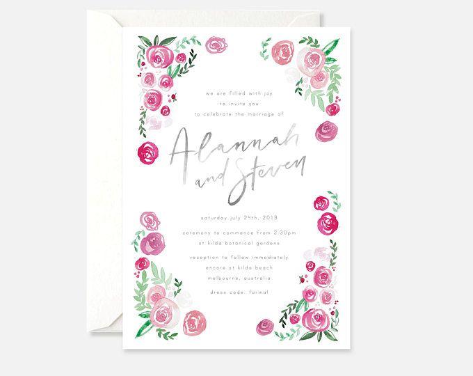 Printable Wedding Invitation Floral Wedding Invitation Grey Wedding Invite Modern Calligraphy Flower Pink Invite Bright Pink Berry Wedding