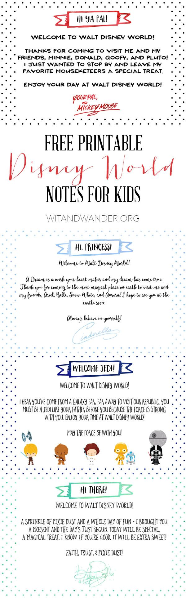 Free Printable Notes from Disney Characters | Tinker Bell Gift Tags - Wit & Wander