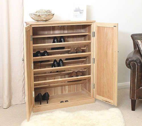Large Oak Shoe Storage Cupboard