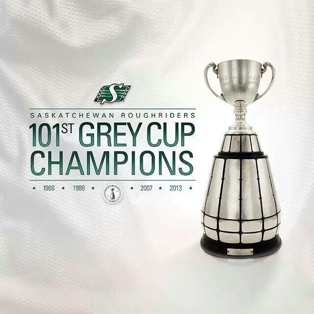 Saskatchewan Roughriders 2013 Grey Cup champs...on home turf!! Way to do it with style boys!!
