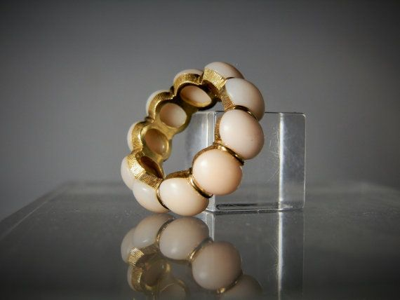 Vintage Gold Ring 18k Yellow Gold Natural Angel Skin Coral Size 5 Eternity Band Ring 10 Stones Gift Quality Ladies Ring DanPickedMinerals