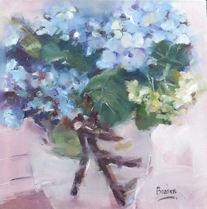 ARTFINDER: Hydrangeas at Valley Bakery by Sharleen Boaden - I went on a painting trip to Valley Bakery, my favorite place in the beautiful Drakensberg mountains and was inspired by the arrangements of Hydrangeas on th...
