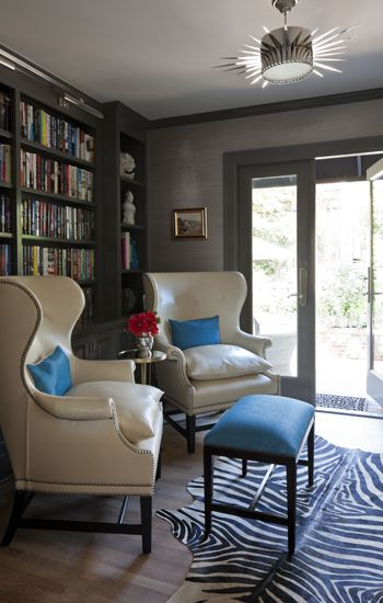 Warm Charcoal Grey Trim with lighter grey grasscloth wallcovering - Trim: Rockport Gray