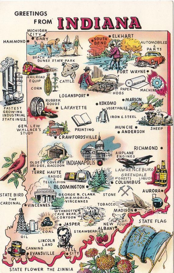 Vintage Greetings from Indiana postcard, with state map, by LostPropertyVintage, £2.50
