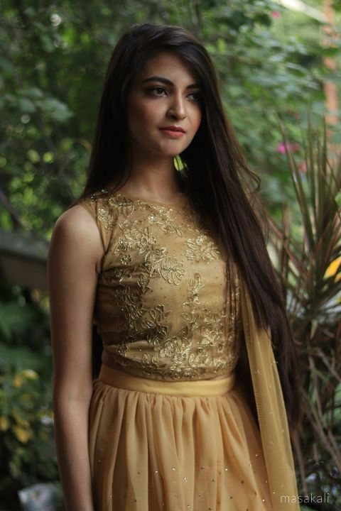 Buy NI SONIYE_Dull gold lehenga and matching blouse