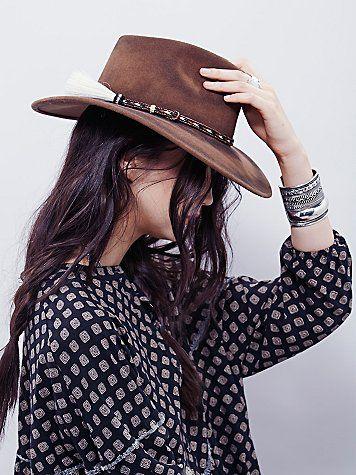 Roxy Dene Distressed Felt Hat | Western inspired wool felt wide brim hat