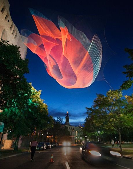 Janet Echelman builds living, breathing sculpture environments that respond to the forces of nature, wind, water and light and become inviting focal points for civic life. Exploring the potential of unlikely materials, from fishing net to atomized water particles, Echelman combines ancient craft with cutting-edge technology to create her permanent sculpture at the scale of buildings.