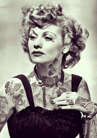 photoshopped photo of lucille ball with tattoos after seeing a few of these kind of images of. Black Bedroom Furniture Sets. Home Design Ideas