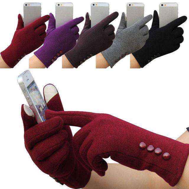 Feitong Мода Женщин Зима 4 Кнопки Сенсорный Экран Перчатки Спорт На Открытом Воздухе Теплые Перчатки Рукавицы Рукавицы Кашемир Бесплатная Доставка