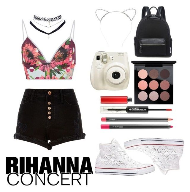 """""""Rihanna Concert 1.0"""" by naivedreaming ❤ liked on Polyvore featuring River Island, Clover Canyon, MAC Cosmetics, Wet Seal, Converse and Lipsy"""