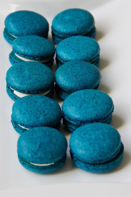 Blueberry French Macarons with White Chocolate Coconut Ganache