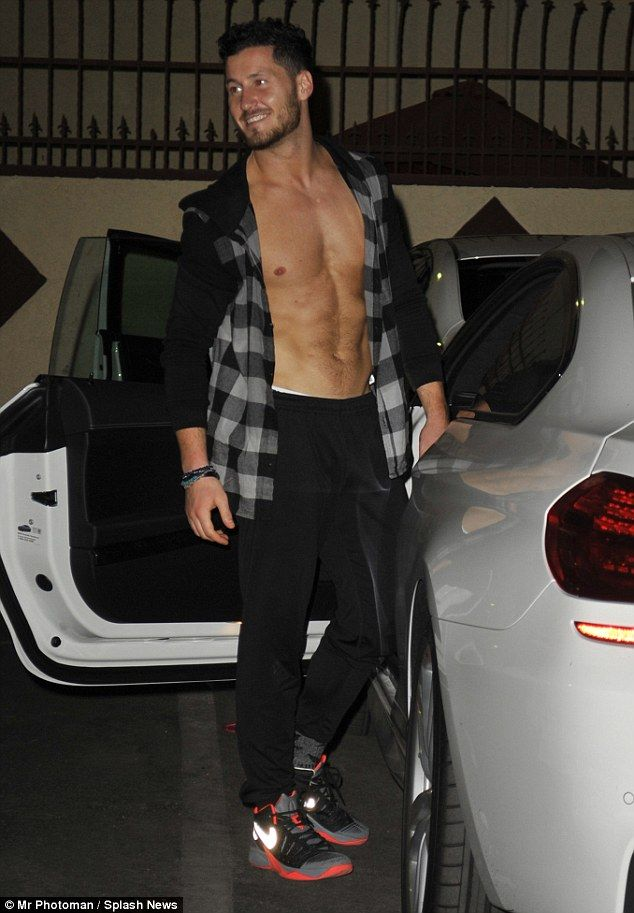 Abs-olutely hunky!: Val Chmerkovskiy flashed his chiselled torso as he left a Dancing With The Stars rehearsal in West Hollywood on Wednesday