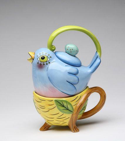 Bluebird teapot and mug