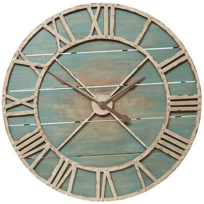 Why not show off your fabulous taste around the clock? Hang this rustic hand-painted wood and wrought iron timepiece, and let it keep pace just like you do—stylishly.
