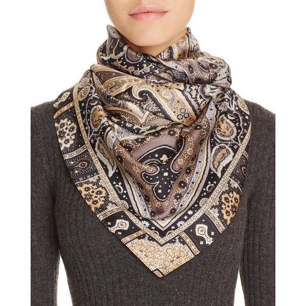 Echo Painterly Paisley Silk Scarf (110 BGN) ❤ liked on Polyvore featuring accessories, scarves, black, paisley shawl, silk shawl, paisley scarves, pure silk scarves and echo scarves