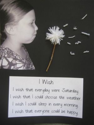 "idea... ""My school bulletin board for the month. We wrote ""I Wish"" poems then took pictures like we were blowing a dandelion."