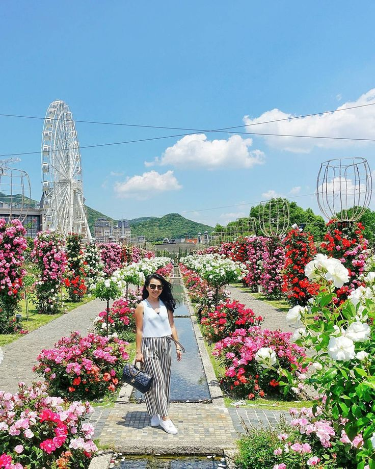 Flowers still blooming.  Ah! You never fail to make my heart flutter.  // Huis Ten Bosch, Sasebo, Nagasaki Prefecture, Japan. instagram: @quennandher  // ZARA striped pants // TOPSHOPSTYLE cropped top // MIU MIU sunglasses // CHANEL Perfect Edge navy blue flap bag // KEDS Triple white platform sneakers