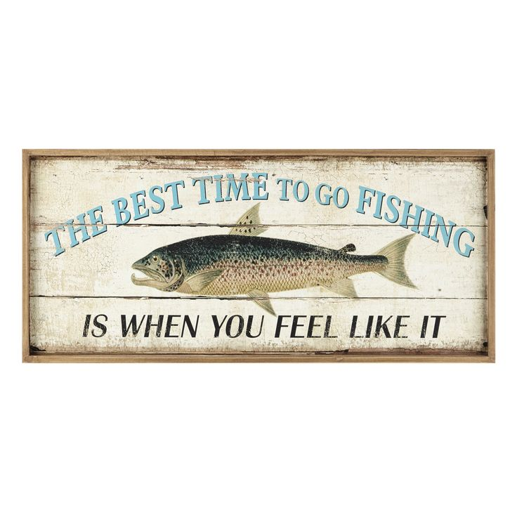 Arredo da parete in legno 37 x 81 cm FISHING