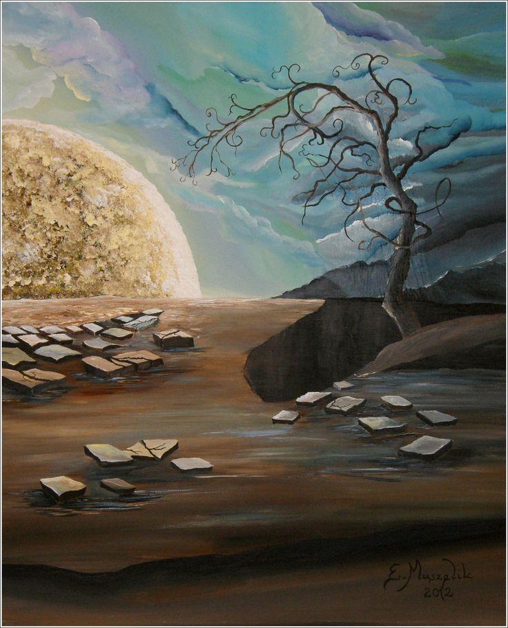 księżycowy pejzaż - obraz na płótnie artist: Edyta Muszelik