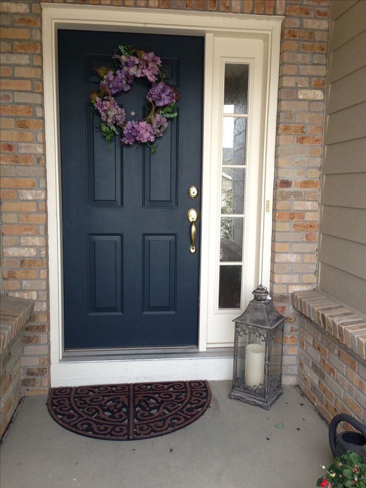 Plain Dark Front Door With One Side Window Favorite