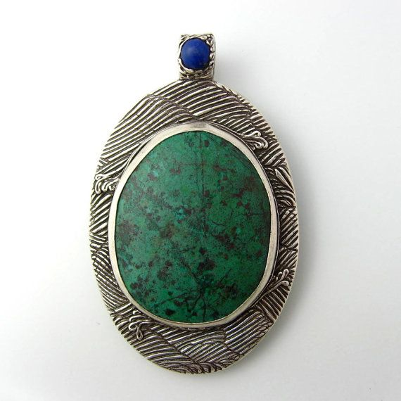 Fine Silver Pendant with Chrysocolla and Tiny Lapis by Kris Kramer at Kris Kramer Designs