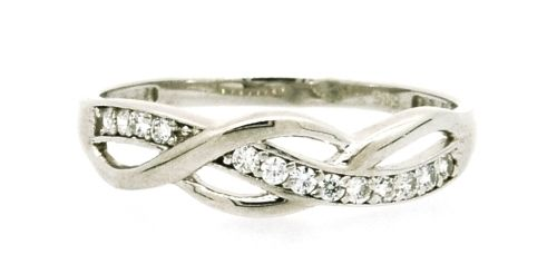 V-Pearl - Fehérarany hullámos, köves gyűrű - Gy-0470