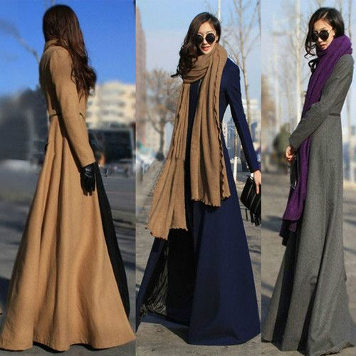 Women's Full-Length Wool Blend Jacket Winderbreaker Slim Fit Long Trench Coat