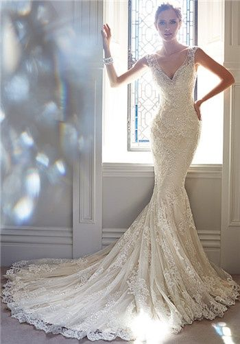 Oh, I just love the lace! So romantic and posh. Sophia Tolli Wedding Dresses - The Knot - and the back is gorgeous too!