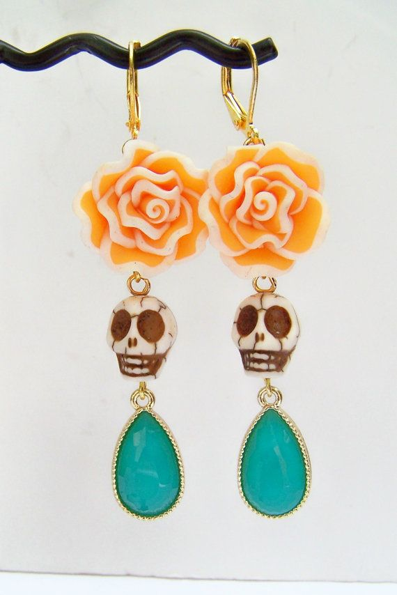 Dia de Los Muertos Earrings, Skull Drop Earrings, Day of the Dead Statement Jewelry by polishedtwo, $15.00