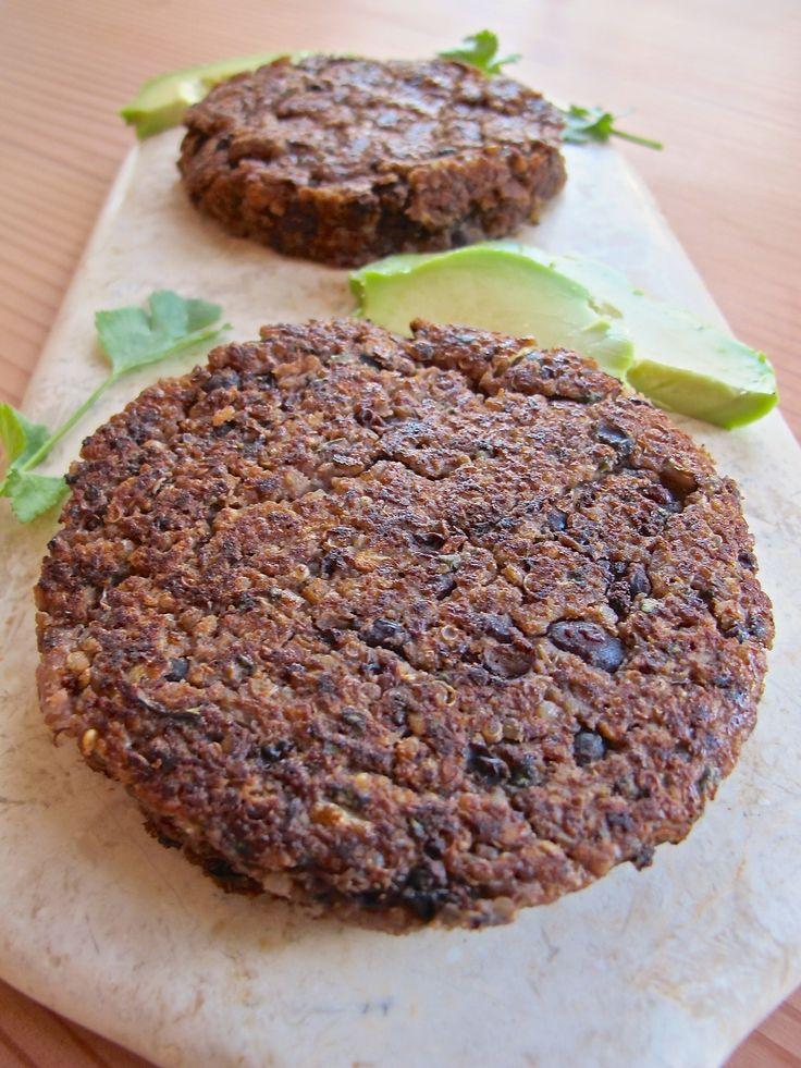 Spicy Black Bean Quinoa Patties with Avocado Sauce {GF, Vegan}