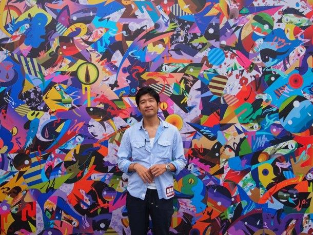 Big mural by Tomokazu Matsuyama done on a wall now in a gallery