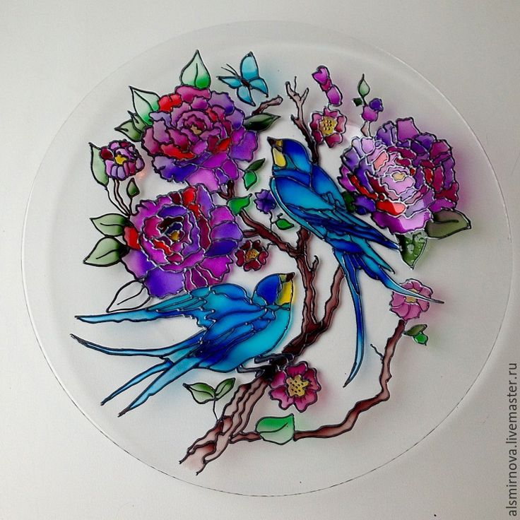 Plate | Hand painted stained glass.