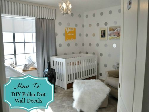 How to create a polka dot wall decal using contact paper! {from Project Nursery} #DIYWall Decal