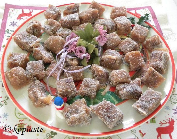 Kydonopasto (quince paste)  http://kopiaste.org/2014/10/marmelada-kydoni-quince-jam/ In Greek:  Κυδωνόπαστο  http://www.kopiaste.info/?p=12701