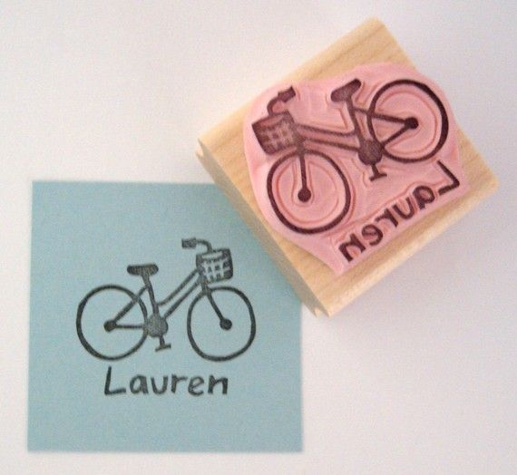 Bicycle Personalized Hand Carved Rubber Stamp door cupcaketree