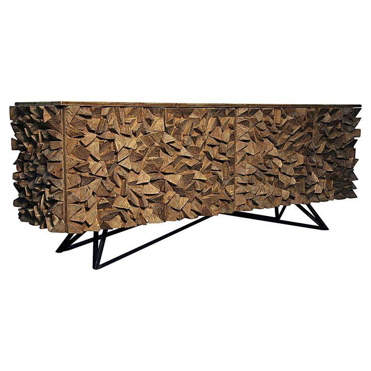 Mersin Modern Rustic Reclaimed Chunky Wood Metal Sideboard Buffet Timber FurnitureDining Room